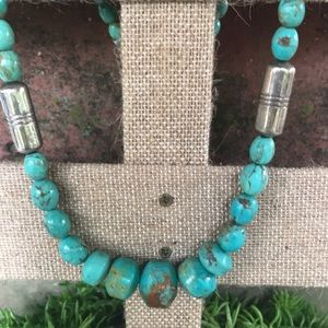 Vtg Jay King DTR Sterling 925 Turquoise Necklace